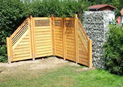 Holz- und Gambionensichtschutz